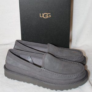 NEW UGG MEN'S SUEDE SHEARLING SLIPPERS GRAY